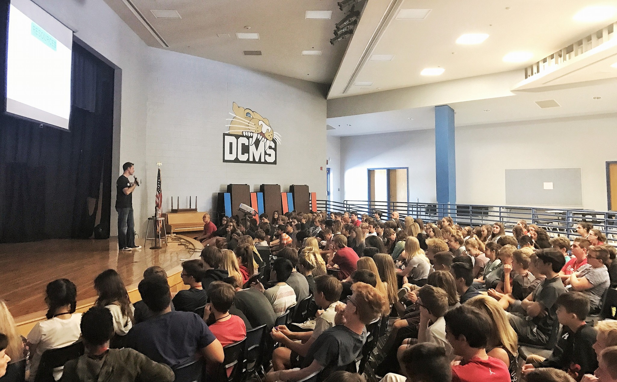 On stage at a local school